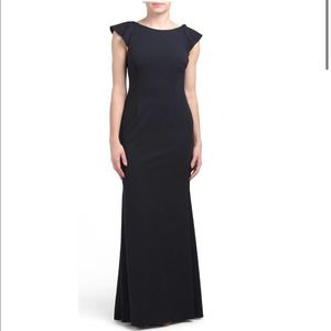 NWT ADRIANNA PAPELL Knit Crepe Dress Gown Navy